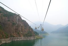 Lake in China with a cable car. Lake Yansaj in China, cable car Stock Photo