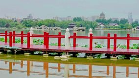 Lake in Chinese park, xi`an, shaanxi, China stock footage