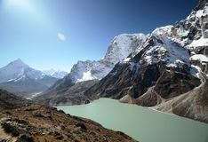 Lake Cholatse in the Everest trek Stock Photos