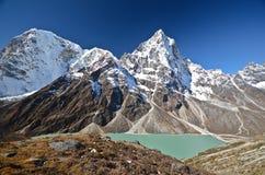 Lake Cholatse in the Everest trek. View of the Cholatse lake and Cholatse  mountain in the Everest trek  in Nepal Stock Image