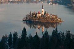 Lake with church on island. Bled lake with a church on the island Stock Photo