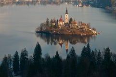 Lake with church on island Stock Photo