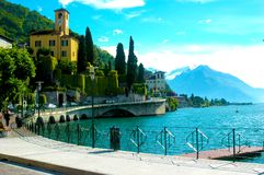 Lake and church in Italy stock images