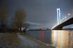 Lake City bridge night lights. The Industrial Ring Road Bridge, in Thailand or Bhumibol Bridge Stock Photography