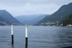 The lake and the city of Como. Panoramic views towards the countries of Bellagio and Cernobbio, view from the path of Villa Olmo, Como Lombardy Italy, May 2014 Royalty Free Stock Photography