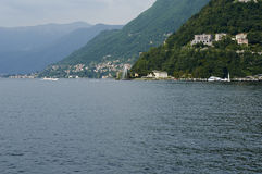 The lake and the city of Como. Panoramic views towards the countries of Bellagio and Cernobbio, view from the path of Villa Olmo, Como Lombardy Italy, May 2014 Stock Photo