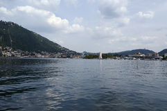 The lake and the city of Como. View from the walk of Villa Olmo, Como Lombardy Italy, May 2014 Royalty Free Stock Photo
