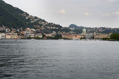 The lake and the city of Como. View from the walk of Villa Olmo, Como Lombardy Italy, May 2014 Royalty Free Stock Images