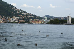 The lake and the city of Como. View from the walk of Villa Olmo, Como Lombardy Italy, May 2014 Stock Images