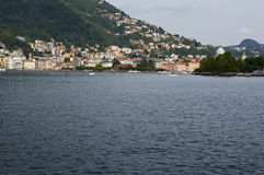 The lake and the city of Como. View from the walk of Villa Olmo, Como Lombardy Italy, May 2014 Stock Image