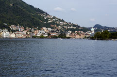 The lake and the city of Como. View from the walk of Villa Olmo, Como Lombardy Italy, May 2014 Royalty Free Stock Photos