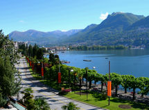 Lake and city of Lugano. View of Lake and city of Lugano promenade, in Switzerland Alps stock photography