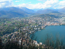 Lake and city of Lugano. View of Lake and city of Lugano, in Switzerland Alps stock photo
