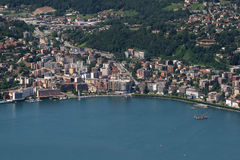 Lake and city of lugano Stock Photo