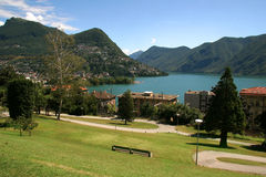 Lake and city of lugano. View of Lake and city of Lugano, in Switzerland Royalty Free Stock Image