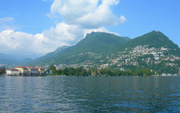 Lake and city of Lugano, Switzerland Stock Photography