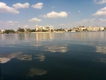 By the lake. City palace Udaipur Royalty Free Stock Photo