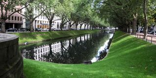Lake in city park. A view along the ponds that run along Konigsallee in Dusseldorf Royalty Free Stock Photography