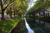 Lake in city park. A view along the ponds that run along Konigsallee in Dusseldorf Stock Photos