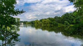 Lake in the city park. stock footage