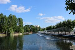 The lake in the city park in the summer stock image