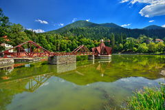 Lake Ciucas leisure complex from Baile Tunsad resort, Transylvania, Harghita county, Romania Royalty Free Stock Photos