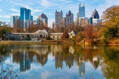 Lake Clara Meer and Midtown Atlanta, USA Stock Photos