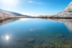 Lake with clear blue water Stock Photos