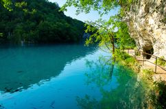 Lake with clear turquoise water, National park Plitvice Lakes, C royalty free stock photo