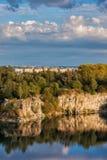 Lake and Cliff in Zakrzowek Reservoir in Krakow stock images