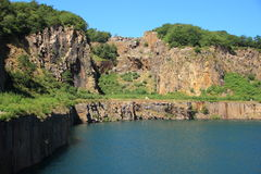 Lake with cliffs and blue sky Royalty Free Stock Images