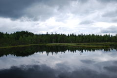 Lake. Cloud mirror in quiet lake Royalty Free Stock Image