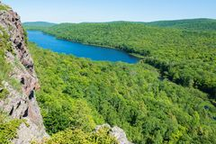 Lake of the Clouds landscape - sunny summer day in the Porcupine Mountains Wilderness State Park royalty free stock photography