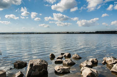 Lake in cloudy day. Blue lake with cloudy sky, nature series Royalty Free Stock Photos