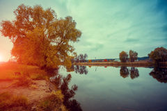 Lake on a cloudy day Royalty Free Stock Image