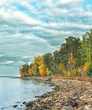 Lake coast. Rocky lake coast with forest along it at autumn Stock Photography