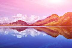 Lake coast with mountain reflection, Iceland Stock Images