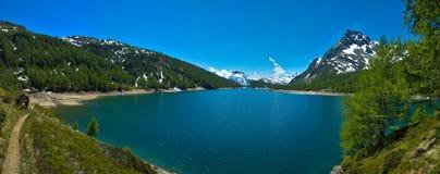 Lake of Codelago (Devero's lake) Devero Alp. Panoramic view from the Devero's lake (Lake Codelago), Devero Alp, Piedmont - Italy Stock Photography