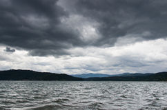 Lake Coeur d' Alene with storm overhead. Nasty Storm approaches Coeur d' Alene over the lake Royalty Free Stock Photos