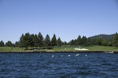 Lake Coeur dAlene Idaho near Spokane Washington. Lake Coeur d`Alene is a natural lake in northern Idaho, in the northwest United States. It attracts tourists to Stock Photography