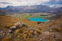 Lake Coleridge in Canterbury district of New zealand. Hiking around Christchurch, beatiful zealandia nature stock photo