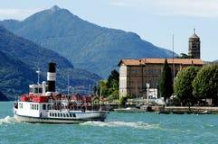 Lake Como. A steam boat on Lake Como, Italy, near the town of Domaso Royalty Free Stock Photos