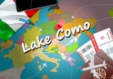 Lake Como city travel and tourism destination concept. Italy fla stock illustration