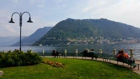 Lake Como, Como, Italy. Couples at lake Sunday daytime Royalty Free Stock Photography