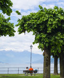 Lake Como - couple. View to Lake Como, Italy Royalty Free Stock Photo