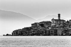 Lake como distant village Royalty Free Stock Image