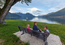Summer Lake Como view (Italy) and family Royalty Free Stock Images