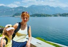 Lake Como and family Stock Photos
