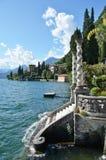 Lake Como från villan Monastero italy arkivfoton
