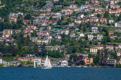 Lake Como 21. Lake Como has beautiful housing and estates surrounded by lush forrest and mountains Stock Photography